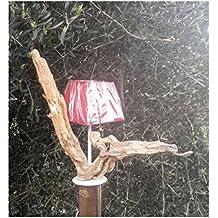 Lily Creation–Lámpara tronco madera (pie blanco