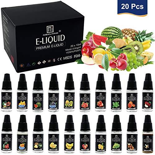 Maxiliving 20er x 10ml E Liquid 0,0mg Nikotin 20 Aromen e-liquid für E-Zigarette -