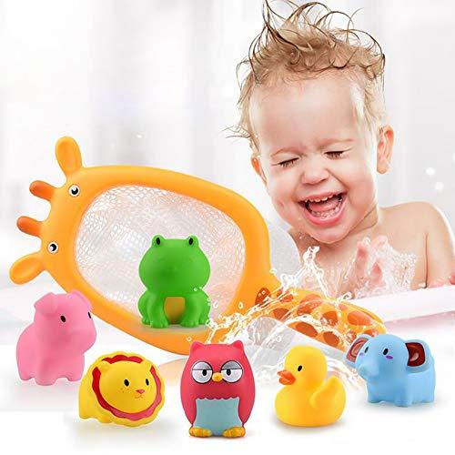 Queta 7 Stück Badespielzeug, Badewannenspielzeug Wasserspielzeug Wasserspaß für Kinder mit 1 Fischernetz & 6 Meerestiere
