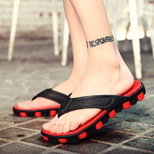 Gracosy Tongs Homme Femme, Chaussures Été Talon Plats Pantoufles Sandales Mode 2018 Confortable Pour Piscine Plage - Gris Rouge Vert Orange (Taille Petite Voir Tableau de Poiture) Rouge