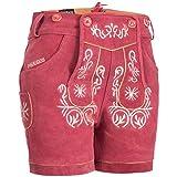 PAULGOS Damen Trachten Lederhose + Träger, Echtes Leder, Kurz in 8 Farben Gr. 34-50 M2, Damen Größe:50, Farbe:Pink