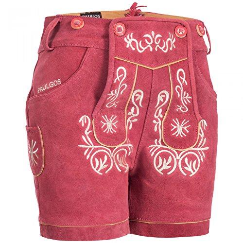 PAULGOS Damen Trachten Lederhose + Träger, Echtes Leder, Kurz in 8 Farben Gr. 34-50 M2, Damen Größe:48, Farbe:Pink