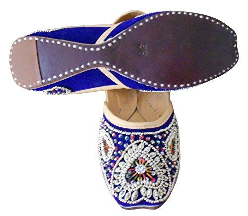 kalra Creations Chaussures de mariage indien traditionnel en cuir fait main en velours pour femme Bleu