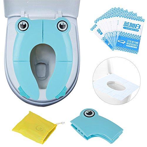 Riduttore pieghevole water bambini da viaggio, portatile per wc, copertura igienica monouso, confezione 10 pezzi (blu, rana)