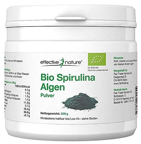 Effective Nature - Bio Spirulina Algen Pulver | 100{114ca2ef23edb970e6c73e73ce60556166f3b8a27f9c79950fe1644fff984260} Rein | Süsswasser Mikroalge | Aus Kontrolliert Biologischem Anbau | Proteinanteil von über 50{114ca2ef23edb970e6c73e73ce60556166f3b8a27f9c79950fe1644fff984260} | Basisch | 250 g