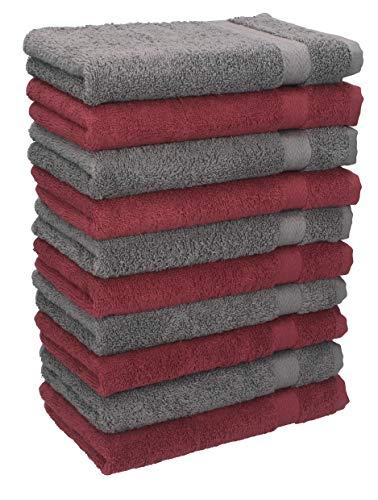 BETZ Lot de 10 Serviettes débarbouillettes lavettes Taille 30x30 cm en 100% Coton Premium Couleur Rouge foncé et Gris Anthracite