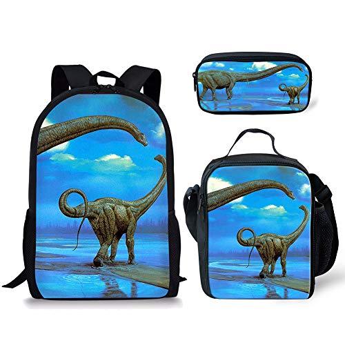 POLERO Dinosaurier Dino Schulrucksack Set Teen Girls Bookbags Laptop-Rucksack für Kinder Lunch Tote Bag Clutch Purse (Tanystropheus Neben Wasser) -