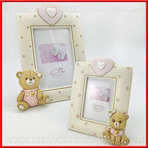 Ingrosso e risparmio portafoto da tavolo in resina panna con pois rosa e animaletti assortiti orso e gatto in due dimensioni bomboniere battesimo idee regalo bambina (standard-senza confezionamento)