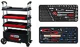 KS Tools 895.2176 BUTLER Werkzeugwagen / Montagewagen, klappbar, absenkbar und verschließbar mit 175 Premium-Werkzeugen