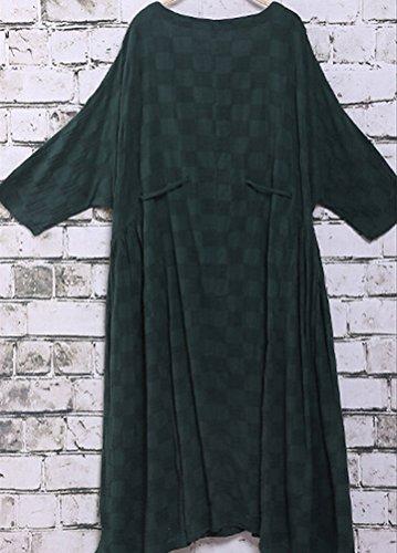 MatchLife Femmes Geometrische Muster Drawstring Robe Vert Foncé