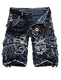 Menschwear Herren Vintage Cargo Shorts Bermuda Kurze Hose Sommer Kurze Hose (34, Blau)