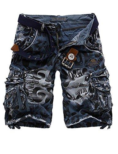 Menschwear Herren Vintage Cargo Shorts Bermuda Kurze Hose Sommer Kurze Hose (30, Blau) (Shorts Dockers Blau)