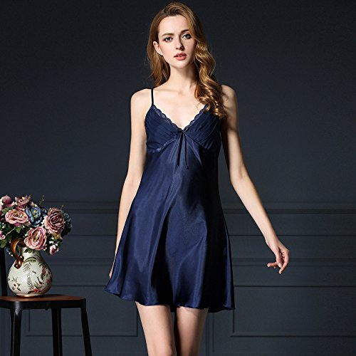 lpkone-Nouvelle tentation sexy comme de la soie Soie bretelles peignoir Chemise dentelle chers vêtements rose glace Taille Libre,Camel Navy Blue