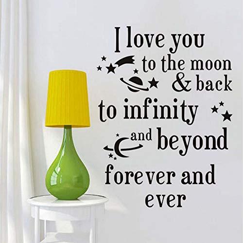 Ich liebe dich bis zum Mond und zurück Zitate Wandaufkleber romantische Liebe Sprüche selbstklebende Tapete für Baby Room Home Decor 44x58 cm