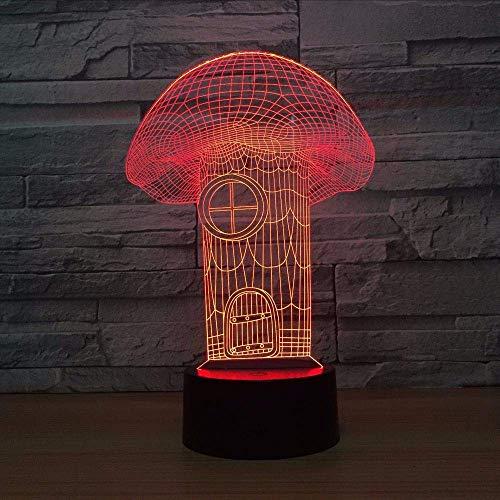 Luci notturne, acrilico funghi 3d notte della luce led 7 colori mood tocco passare i bambini bambina soggiorno/camera da tavolo/scrivania a pelo leggero