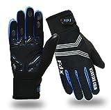 Guanti da ciclismo, antivento, con cuscinetti in gel, compatibili con touch screen, guanti con dita complete, di FDX, FDX-337-0, Black / Blue, L