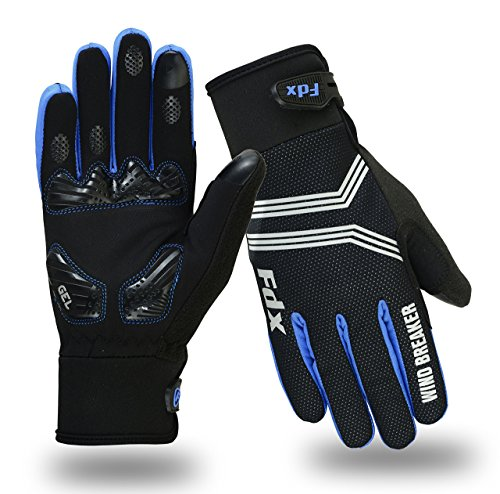 FDX Cycling Gloves Windproof Gel Padded Touchscreen Compatible Full Finger Gloves (Black/Blue, XX-Large)