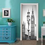 etiqueta de la puerta 3dEstéreo 3D cartel del reloj de Londres PVC impermeable puerta global pegatinas wallpaper DIY mural decoración del hogar autoadhesivo hecho a mano