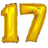 DekoRex® Folienballon Zahlenballon Luftballon Geburtstag Deko 80cm Zahl Gold 17