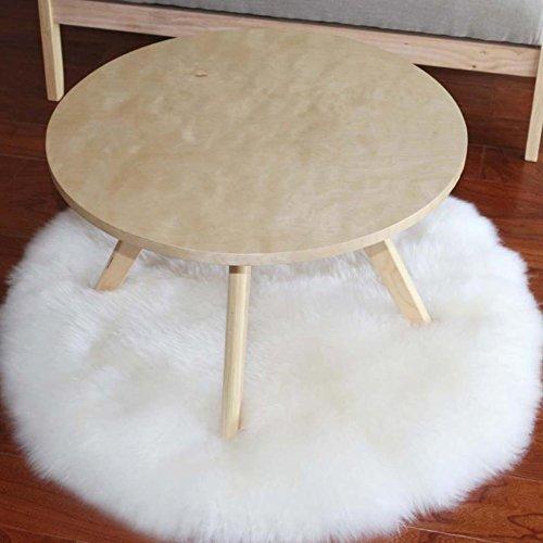 Fyore lujo Shaggy área alfombra de oveja sintética Cozy redonda alfombra antideslizante para mesita de noche dormitorio sala de estar, piel sintética, Blanco, 80 cm