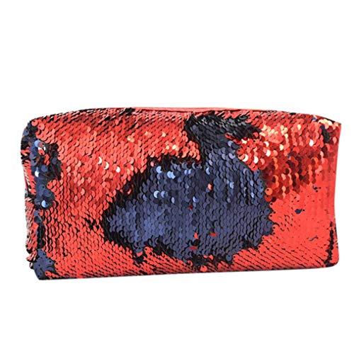 Toamen Bolso De Lentejuelas De Color Doble Moda Unisex Bolso De CosméTicos Estuche De Maquillaje (Rojo)