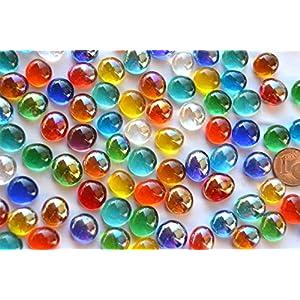 100g (ca. 70-80 St.) Mini Glasnuggets 10-12mm bunt transparent teilweise irisierend Muggelsteine Glassteine