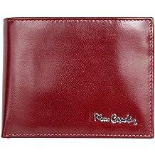 Cartera de cuero genuino de color rojo oscuro Pierre Cardin