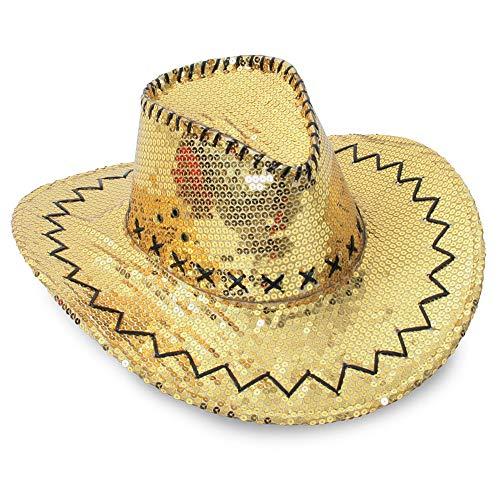 Party Cowboyhut mit Pailletten Cattleman Karneval Saloon Cowboy Discohut Partyhut (Gold)