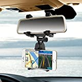 Ceuta Retails, [ Car Rear-view Mirror Mount Stand ] Anti Shake Fall Prevention | 360 Degree Rotation | With Anti-vibration Pads | SGRH 2018 Upgraded Model Car Stand | Universal Adjustable Car Mount Holder Supports Upto 6.5 Inch | Color - Black