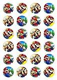 24x Tortendekoration aus Esspapier mit Super-Mario-Motiv, für Cupcakes, Kuchen