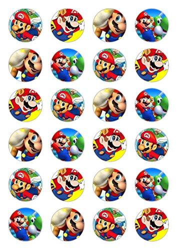on aus Esspapier mit Super-Mario-Motiv, für Cupcakes, Kuchen ()