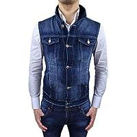 Giubbotto Smanicato di Jeans uomo blu scuro cotone denim Giubbino gilet cardigan slim fit aderente casual