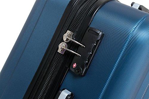 TSA-Schloß 2080 Hangepäck Zwillingsrollen neu Reisekoffer Koffer Trolley Hartschale XL-L-M(Boardcase) in 12 Farben (Blau, Set) - 3