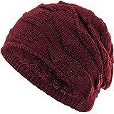 Compagno Mütze warm gefütterte Wintermütze elegantes Strickmuster Beanie Einheitsgröße, Farbe:Dunkelrot