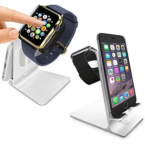 Orzly® - DuoStand Charge Station for Apple Watch & iPhone - Desk Stand Cradle (Soporte de Aluminio) en PLATA con Espacios de Inserción para ambos Grommet Cargador y Lightning Cable para su uso como un completo y funcional Base de Carga (Charging Dock) para su Apple Watch y el iPhone simultáneamente - Para iPhone Modelos: 5 / 5S / 5C / 6 /6 PLUS y ambos 42mm y 38mm tamaños de 2015 AppleWatch (Original BASIC Modelo / SPORT Model / EDITION Versión)