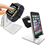 Orzly® - DuoStand Charge Station for Apple Watch & iPhone - Desk Stand Cradle (Soporte de Aluminio) en PLATA con Espacios de Inserción para ambos Grommet Cargador y Lightning Cable para su uso como un completo y funcional Base de Carga (Charging Dock) para su Apple Watch y el iPhone simultáneamente - Para iPhone Modelos: 5 / 5S / 5C / 6 /6 PLUS y ambos 42mm y 38mm tamaños de 2015 AppleWatch (Original BASIC Modelo / SPORT Model / EDITION Versión)