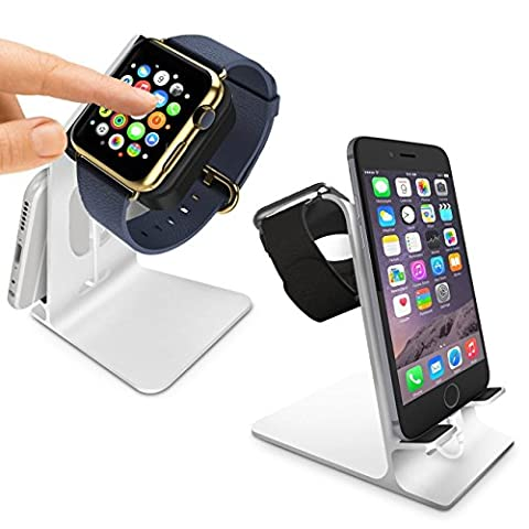 Orzly® Duostand pour Apple Watch – Stand Apple Watch - Station de Charge - Double Station d'accueil - Support Bureau Aluminium HQ Compatible Apple Watch 38 mm / Apple Watch 42 mm
