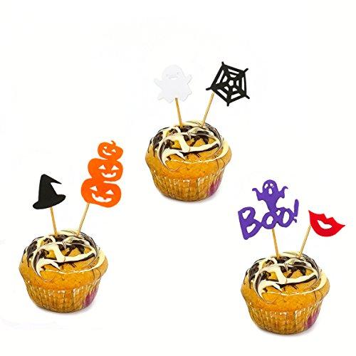 (Oblique Unique® Halloween Dekoration Topper Kuchen Muffin - 6 Holzsticker Spinnwebe Gespenst Kürbis)