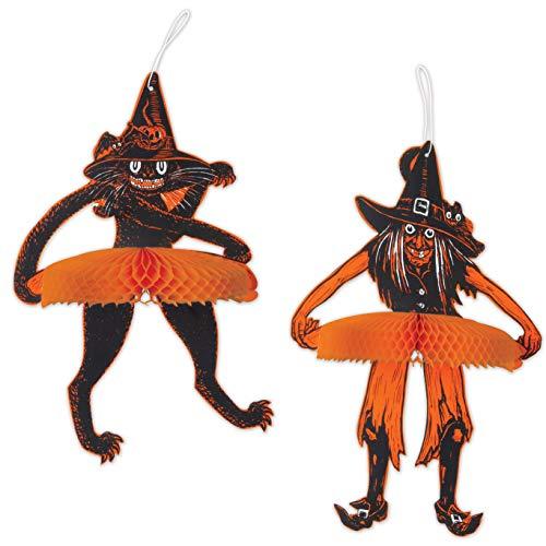 Beistle 00635 Vintage Halloween Tango Hexe und Katze, 38,1 cm - 40,6 cm, schwarz/orange/weiß (Halloween-dekoration Katze Schwarze Vintage)