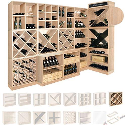 Weinregal / Flaschenregal System CAVEPRO, Regalmodul mit Rauten, Holz Melamin beschichtet, Eiche...