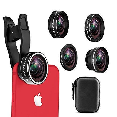 Teleobjektiv-Set, 4-in-1-Handy-Kameraobjektiv, 12-Fach Teleobjektiv + 180° Fischaugenobjektiv + 0,65 Weitwinkelobjektiv + Makroobjektiv zum Aufstecken für iPhone 8 7 6 Plus, Fisheye Lens 5 in 1