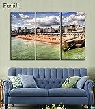Gemälde auf Leinwand, 3 Tafeln, Motiv: Zitrone Erdbeere, modulare Bilder für Wohnzimmer, ohne Rahmen, 3-teiliges Set