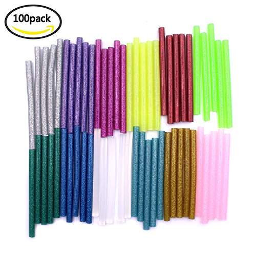 buwant Hot Klebestifte Hot Melt Craft Glue 60Glitter bunt und 40Weiß Adhesive Sticky Sticks, 7mm * 100mm, 13Farbe