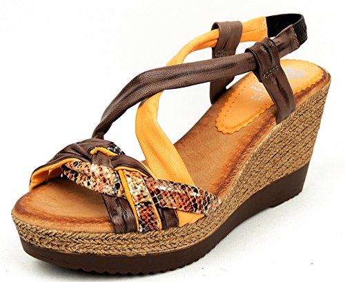 Marila , Sandales pour femme marron marron 37 naranja/niger/serp.