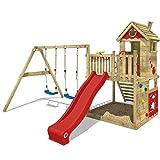 WICKEY Spielturm Klettergerüst Smart Lodge 120 mit Schaukel & roter Rutsche, Baumhaus mit großem...