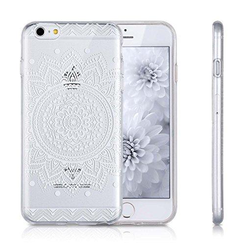 iMonster Henna Hülle für iPhone 6 / 6S Plus Crystal Case Schutzhülle Mandala Weiß Sonne Motiv Ultradünn Handyhülle Silikonhülle TPU transparent Weiss