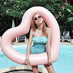 Idea Regalo - ED-Lumos Piscina gonfiabile grande stuoia a forma di cuore piscina 111CMx115CM Colore Rosa