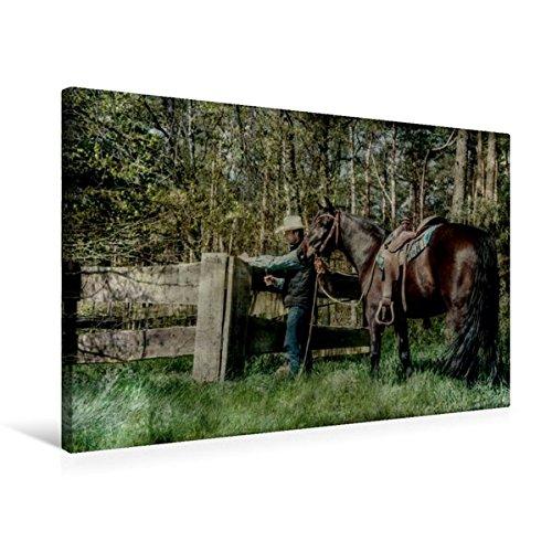 Premium Textil-Leinwand 75 cm x 50 cm quer, Weiden und Zäune kontrollieren | Wandbild, Bild auf Keilrahmen, Fertigbild auf echter Leinwand. Arbeit mit und fürs Pferd (CALVENDO Natur)