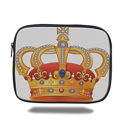 Tablet Bag for Ipad air 2/3/4/mini 9.7 inch,King,Royal Crown with Gem Like Image Symbol of Imperial Majestic Print,Red White Blue and Marigold,Bag -
