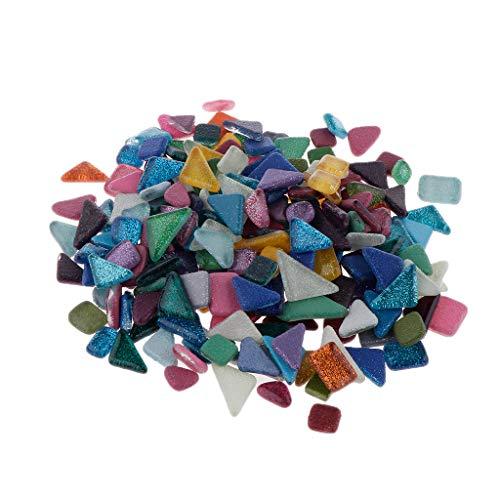 B Baosity Unregelmäßige Sortierte Farbe Crystal Glasmosaiksteine Dekoration Klarglas Mosaik Fliesen Für DIY Handwerk - Mehrfarbig, 450 g